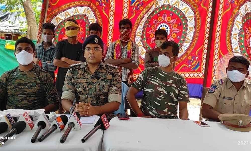 Bhadrachalam ASP G Vineeth speaking to media persons in Cherla on Sunday